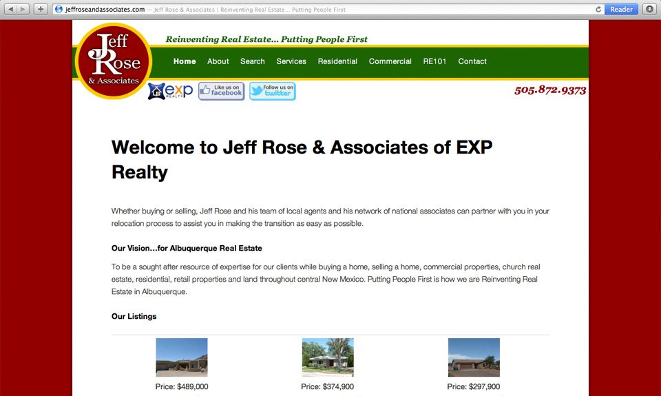 JeffRoseAndAssociates Website Design