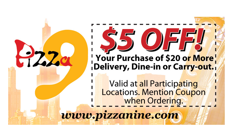 Pizza 9 Coupon Print Design