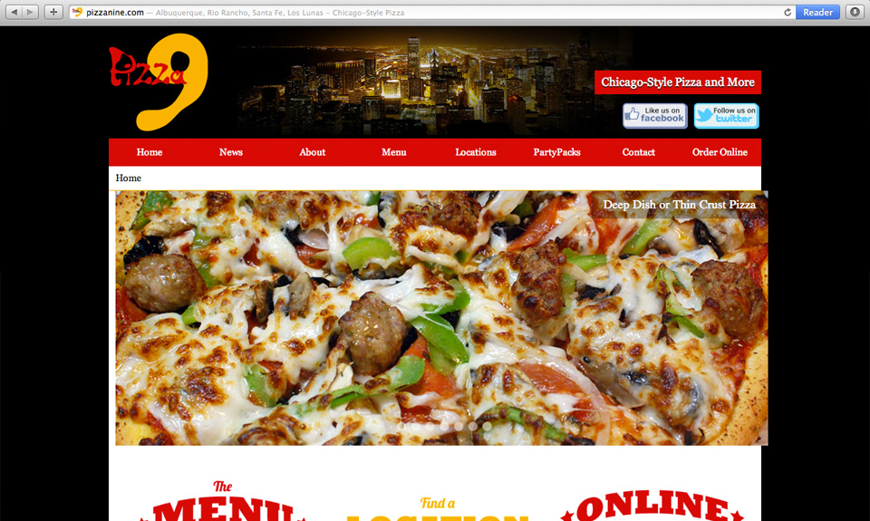 Pizza 9 Website Design