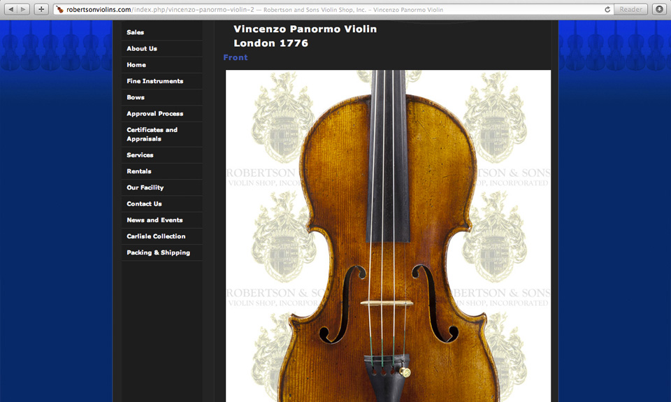 RobertsonAndSonsViolinShop Webs Management