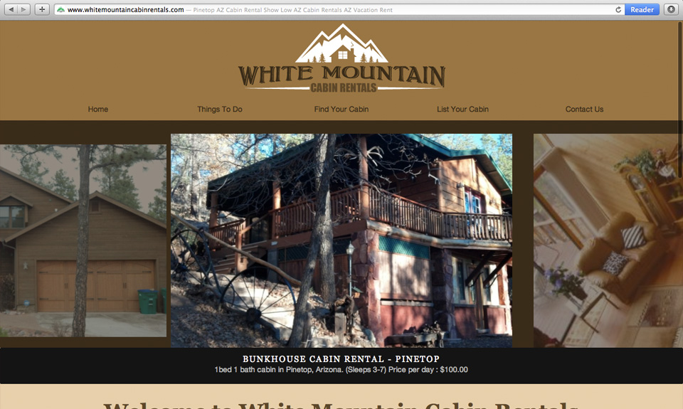 White Mountain Cabin Rentals Website Design